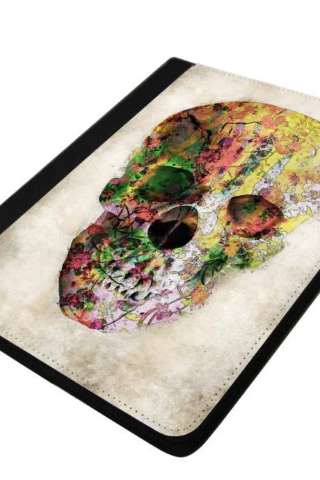 Floral Skull - canvas PU leatherette flip ipad 2 3 4 case ipad air 5 case ipad mini case