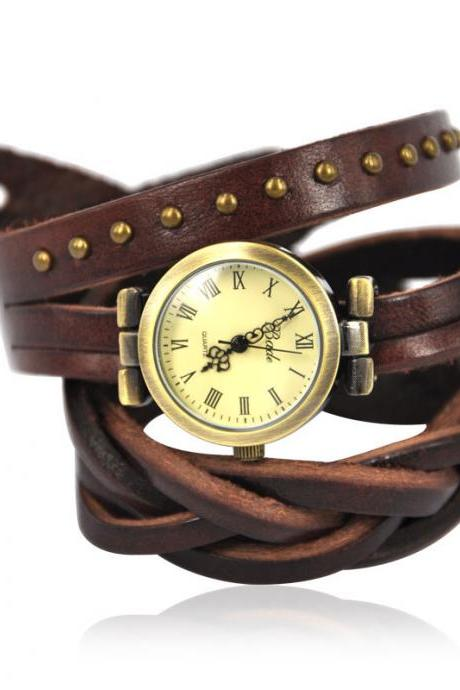 Dark Brown Leather Band Watch