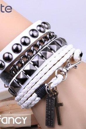 Punk Rivet Leather Bracelet