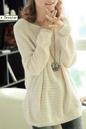 Beige Loose Bat Sleeve Hollow Sweater826 L 071303