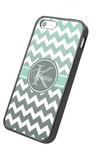 Monogram Grey mint green chevron - iphone 4 4s case iphone 5 5s 5c case iphone 6 6 plus case ipod touch 4 5 case, Galaxy S2 3 4 mini S5 note 1 2 3 case