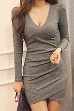 Sexy V-neck long-sleeved dress #SF102415