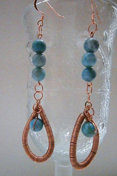 Turquoise Jasper and Copper Spirals Earrings