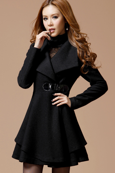 Black Turn Down Collar Long Coat