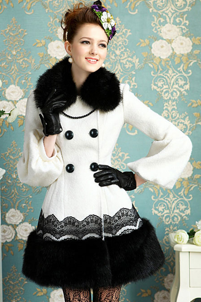 Cheap Fashion Turndown Collar Long Sleeves Single-breasted Fur Patchwork Lace Decorated White Long Wool Coat