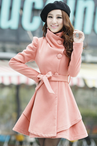 Cheap Sweet Style Turndown Collar Long Sleeves Single-breasted Pink Woolen Long Trench Coat