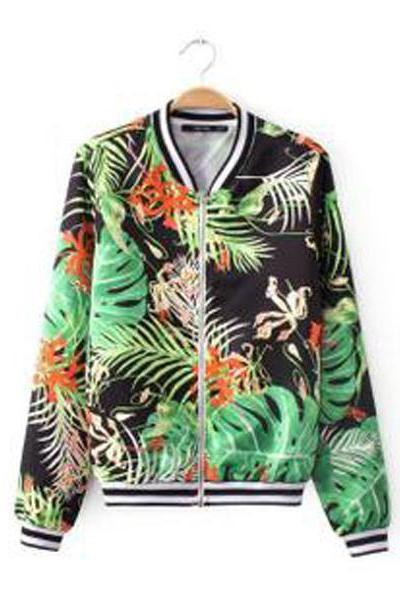 Women Autumn Winter Flower Grass Print Jacket Coat Outerwear