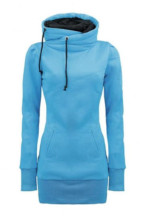 Draw String Beam Waist Korean Style Cotton Women Hoodies - Blue
