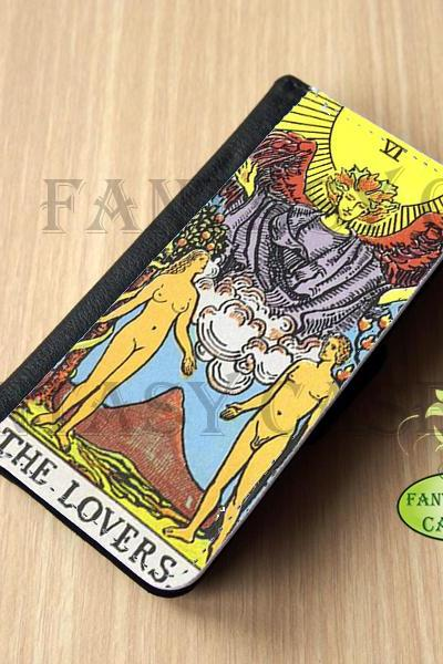 The Lovers Tarot Card - iPhone 5 Wallet Case, Leather iphone 5s case, iPhone 6 Wallet Case, Leather iPhone 6 Case, Flip Case