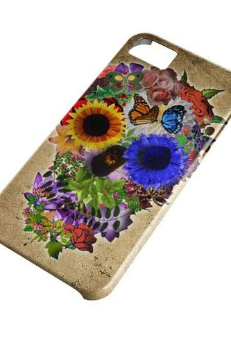Floral sugar skull - full wrap iphone 4 4s case iphone 5 5s case iphone 5c case Galaxy S3 i9300 case