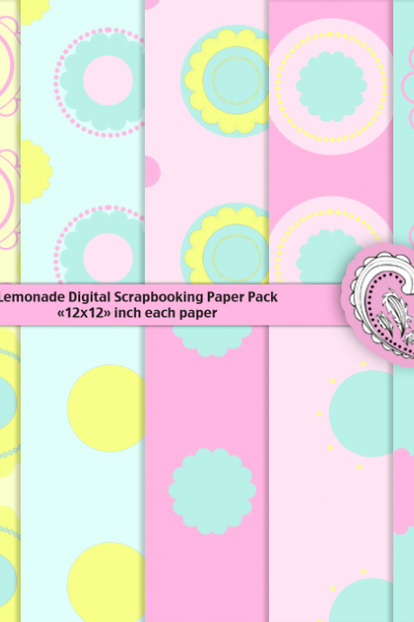 Lemonade Digital Scrapbooking Paper Pack