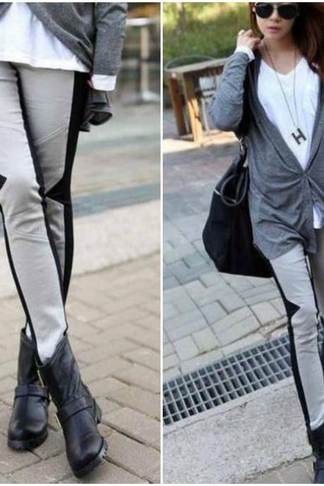 Chic Color Block Leggings for Autumn and Winter