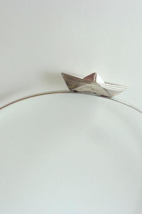 Boat nautical silver metal headband or tiara