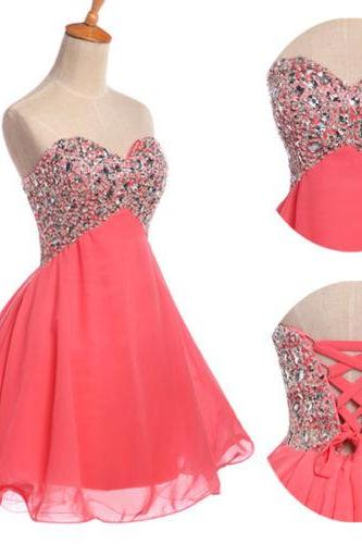 Charming and Lovely Ball Gown Chiffon Short Prom Dress 2016, Homecoming Dress 2016, Coral Prom Dress
