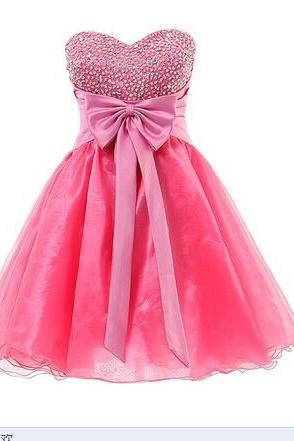 Adorable Sweetheart Short Organza Prom Dress with Beadings and Bow,Organza Short Prom, Homecoming, Cocktail Patry Dress