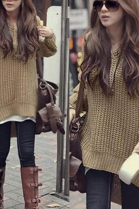 Loose Hooded Sweater Jacket
