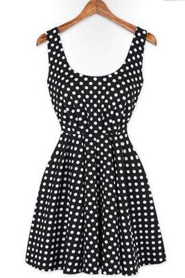 Polka Dot Backless Dress With Bow