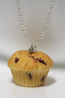 Kawaii Cute Miniature Food Necklaces - BlueBerry Muffin with Sterling Silver Chain