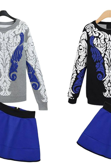 2015 Hitz Europe and the United States women's blue and white porcelain long sleeved knit sweater all-match skirts