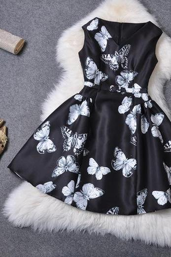 Belted Black Dress With Butterflies