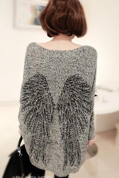 Wing Printed Loose Sweater