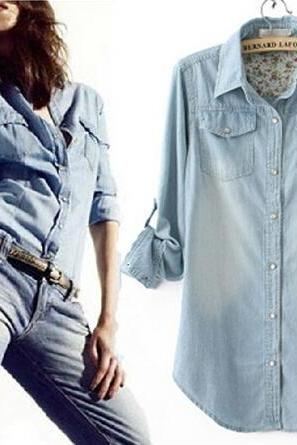 Loose denim long-sleeved shirt AX102601ax