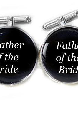 Father of the Bride Cufflinks Customize Name Date Wedding Men Cuff Links Personalized Keepsake Gift
