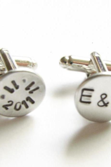 Date Initial Hand Stamped Wedding Cufflinks personalized keepsake gift for him guys custom cuff links