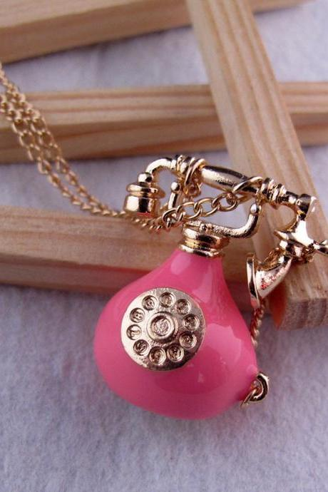 Pink personality telephone necklace