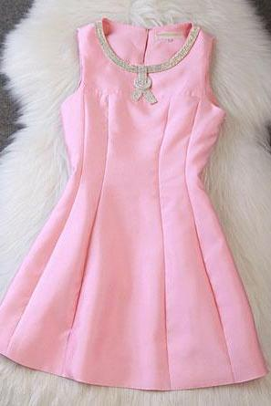 Nice Pink Beaded Sleeves A-Line Dress