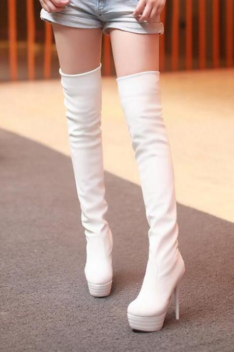 Luxury White Over the Knee High Heel Winter Boots