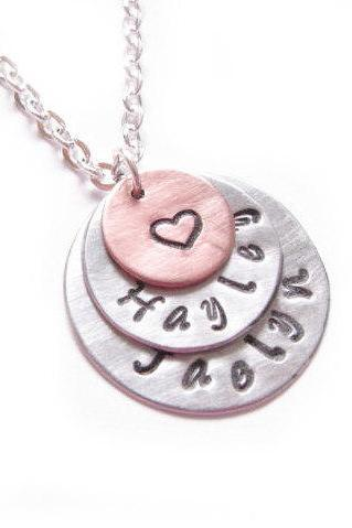 Triple Custom Hand Stamped Name Necklace Heart Custom Personalized Pendant mother