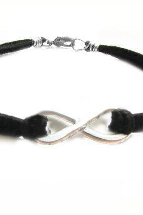 Hammered Knot Infinity Bracelet Unisex Wire Wrapped Black Leather Suede wear two side