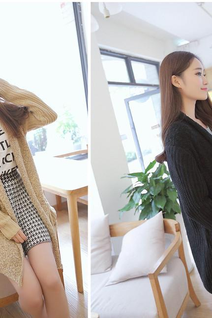 Women Solid Color Loose Casual Open Front Knitted Wool Cardigan Sweater with Big Pocket Beside One Size