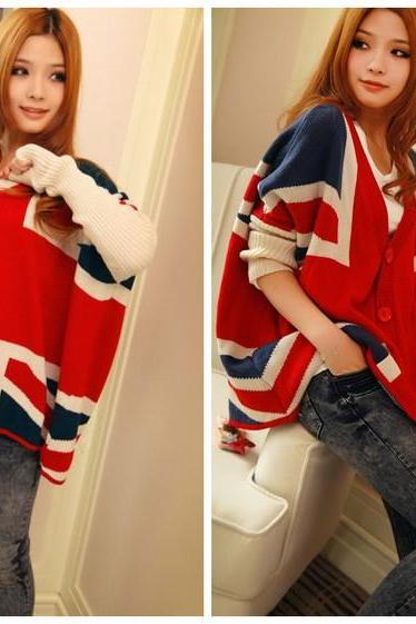 V-neck the Union Jack Pattern Long Batwing Sleeve Single Breasted Irregular Casual Loose Wool Women Knitted Sweater Jacket for Fall Fashion One Size