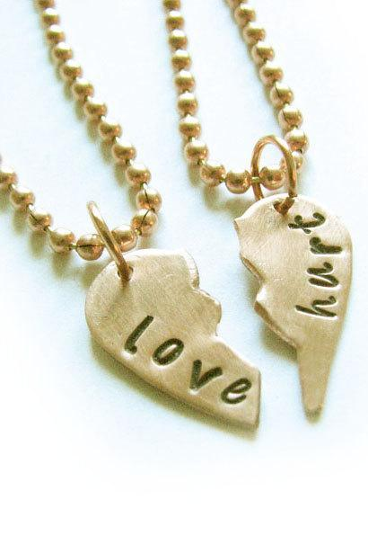 Hand cut Broken Heart Necklace Split Hand Stamped Pendant Ball Chain Jewelry Copper or Brass