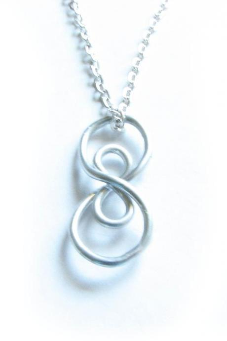 Silver Vertical Infinity Necklace Wire Wrapped Silver Plated Chain Jewelry