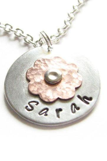Riveted Hammered Flower Necklace Two Tone Copper Personalized Hand Stamped Pendant chain