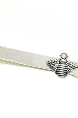 Honey Bee Tie Clip Aluminum Men Tie Bar Clip Personalized Groomsman for him Gift Keepsake