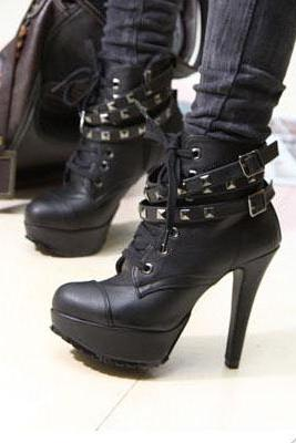 Studded Black High heel Winter Boots