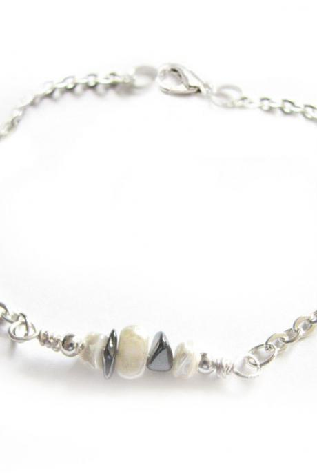 Gemstone Nugget Anklet White Mother of Pearl Black Onyx Bracelet Wire Wrapped Jewelry