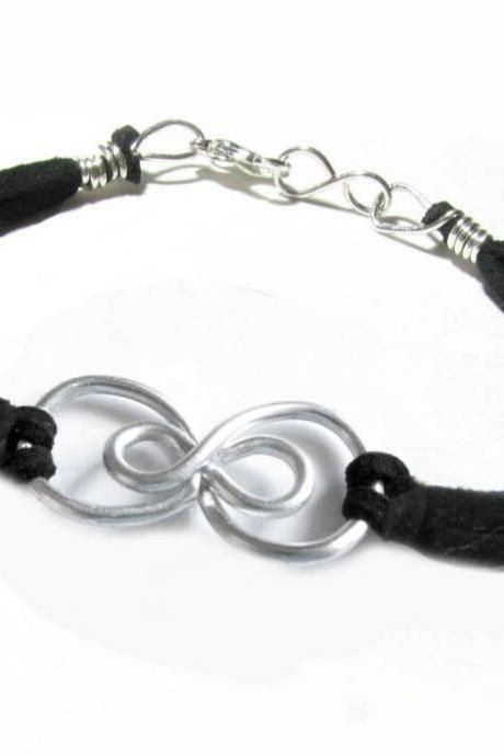 Silver Double Infinity Bracelet Wire Wrapped Black Leather Suede Jewelry