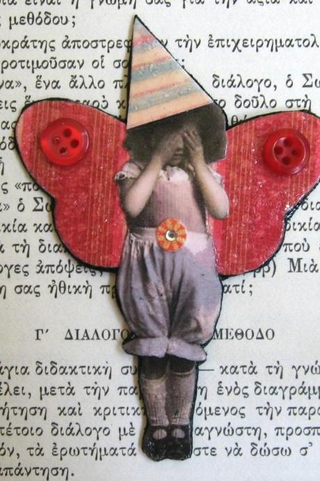 OOAK Mixed Media Collage Brooch 'Peek-a-boo Fairy'