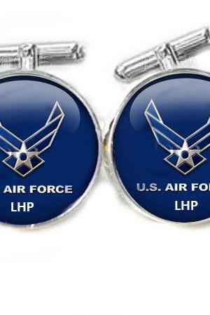 Blue Air Force Cufflinks personalized keepsake gift for him guys men father Initial cuff links
