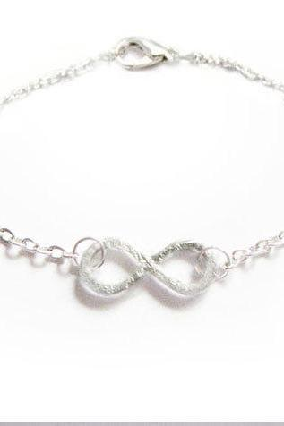 Wire Wrapped nfinity Anklet Bracelet Knot Silver Plated Chain Hammered Jewelry wear two side