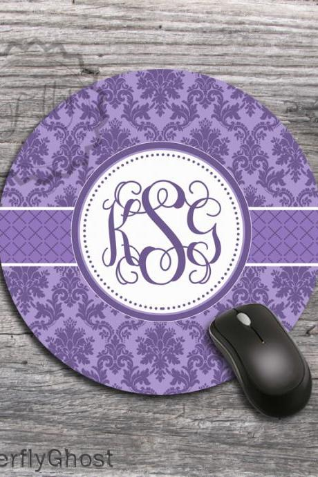 Lavander Round Mousepad - Designed Computer desk accessory, office boss gift, monogrammed mat