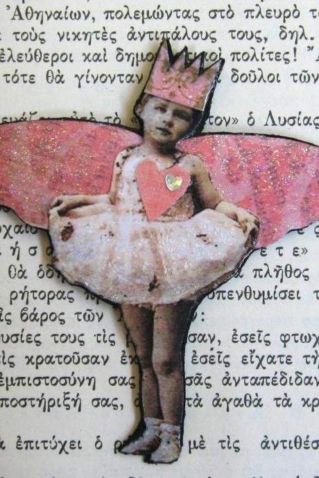 OOAK Mixed Media Collage Brooch 'Tutu Fairy'