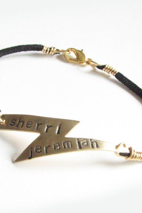 Harry Potter Lightning Bolt Bracelet Hand Stamped Black Suede Leather Personalized Jewelry