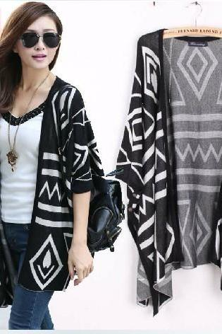 Oversized Aztec Geometry Print Knitted Cardigan - Black - 16270
