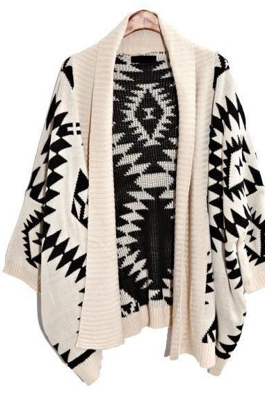 Oversized Aztec Geometry Print Knitted Cardigan - White -12683